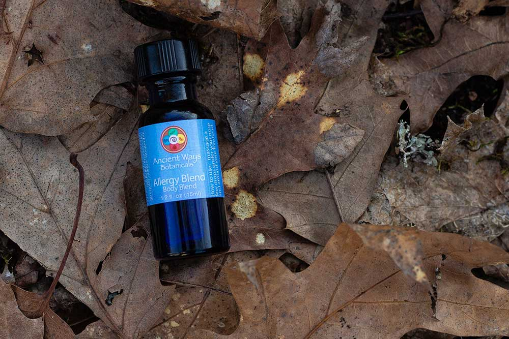 Body blends category with Ancient Ways Botanicals oils laying on leaves