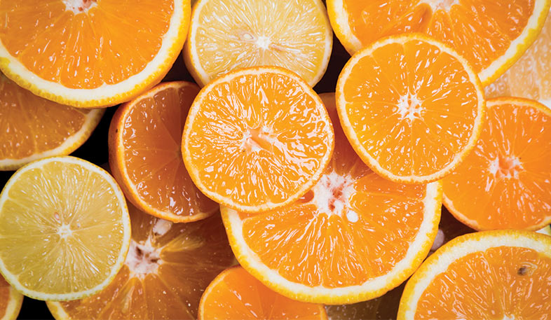 Sliced oranges used in essential oil blend