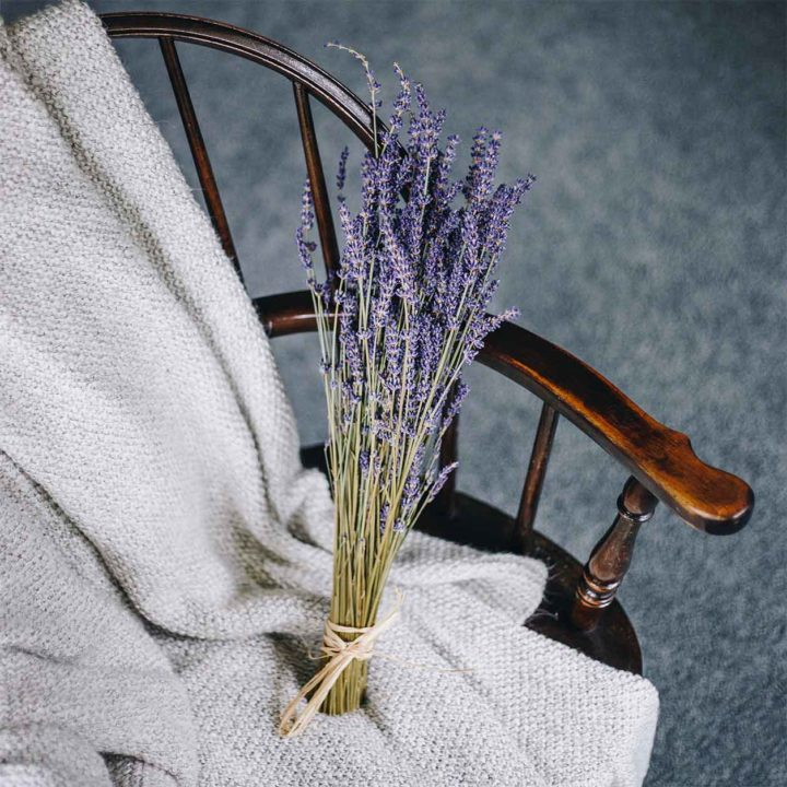 Dried lavender bunch on chair